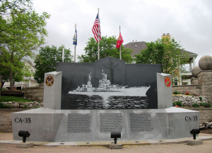 Memorial for the sailors in the worst shark attack